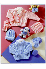 Knitting Pattern- Baby boys girls Cable cardigans-hats- mitts in DK Wool 180 99p