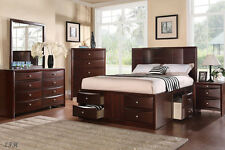 NEW 4PC MARCELINE ESPRESSO FINISH WOOD QUEEN BEDROOM SET w/ UNDER BED DRAWERS
