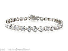 "Sterling Silver 7.5"" Tennis Bracelet Ladies Gift Boxed Hallmarked"
