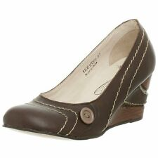 FLY LONDON FLY GIRL LUDO DESIGNER BROWN LEATHER COURT SHOES WEDGES 5 /38 RRP £85
