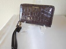 New Coach Madison Embossed Croc Double Zip-Around Leather Phone Wallet, Wristet!