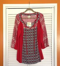 3X New ANTHROPOLOGIE FIG AND FLOWER TUNIC BOHO PEASANT TOP BLOUSE FLORAL Red