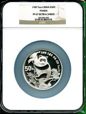 CHINA  1987  PANDA  SILVER 5 OZ    NGC PROOF 67 ULTRA CAMEO