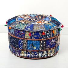 Pouf Ottoman Blue Round Poof Pouffe Foot Stool Indian Floor Pillow Ethnic Decor