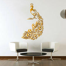 Peacock Golden Wall Sticker Birds Decal Hall Art Living room Vinyl Mural Decor