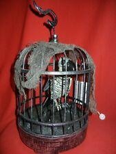 ANIMATED TALKING SKELETON PARROT BIRD ZOMBIE IN BIRDCAGE PROP - HALLOWEEN CAGE