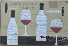 8X12'' METAL Art Wall Decor Retro Tin Sign Ad sticker vin rouge Paris wine TP452