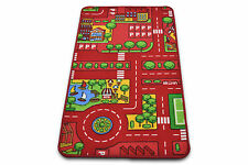 Kids Play Mat Non-Slip Large Red City Rug Children Playmat Road Car Mats Carpet