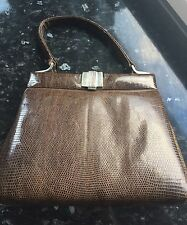 Vintage Art Deco Lizard Skin Kelly Style Handbag