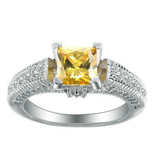 Nice Jewelry women 925 sterling silver Citrine Wedding Ring size7 M431