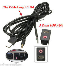 Car Boat Audio Dash Flush Mount USB 3.5mm AUX Male Mounting Adapter Panel Input