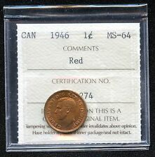1946 Canada 1 Cent Coin ICCS Graded MS64 # IE 274