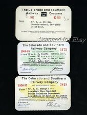 Lot of 3 Colorado & Southern 1930s to1960s Railroad Pass Ticket