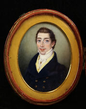 Fine c.1815 Portrait Miniature of a Young Regency Gentleman in a Travelling Case