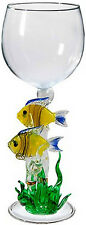 EXQUISITE HAND-BLOWN WINE GLASS - YELLOW CORAL FISH BY YURANA GLASS W261
