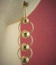 9ct Gold .375 Plain Polished Ball Style Dangle  Earrings Hook Through Fittings