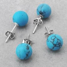 "2 Pair 925 Sterling Silver Turquoise Stud Earrings 0.3"" HOT"