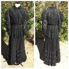 3-Piece Edwardian Dress Black Lace Jet Beads Boned Shirtwaist Bodice Skirt & Top