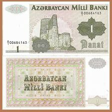 Azerbaijan P11, 1 Manat, Maiden Tower ruins, 1992 UNC see UV & wm images - $7+CV