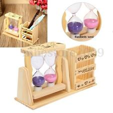 Wooden Sandglass & Pen Pencil Holder Hourglass Home Office Decor Sand Glass Gift
