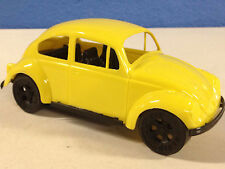 Vintage VW BUG YELLOW PLASTIC ROLLING BEETLE MADE IN THE USA TOY