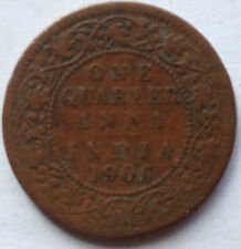India One Quarter Anna 1906 coin