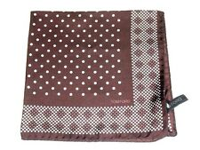 $105 NWOT TOM FORD Brown geometric border spots silk pocket square handkerchief