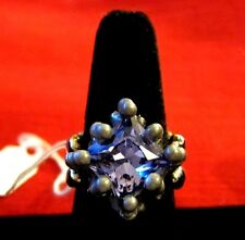 NEW $120 Sergio Gutierrez SG Liquid Metal Collection Ring w/ Purple Stone 8