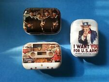 3 Mini Vintage Style Tins Party Candy Gift Box Pills  Headphone Jewelry 1960's