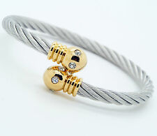 Unisex Men Women's Stainless Steel Bracelet Silver And Gold Adjustable Size G1