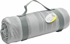Grey Striped Picnic Blanket with Carrier