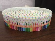 1m White Pencils Dot Colour Stripes Crayons Back to School 25mm Grosgrain Ribbon