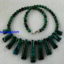Natural Azurite Chrysocolla ARROW PENDANT GEMSTONE NECKLACE 18''
