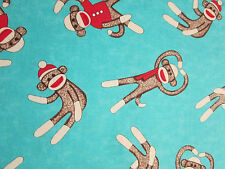 SOCK MONKEY OVERALL MONKEYS  BLUE COTTON FLANNEL FABRIC FQ