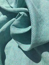 """64"""" Blue Green Cross Dye 100% Medium Weight Linen Stripes Woven Fabric By Yard"""