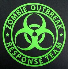 1 NEW LIME GREEN ZOMBIE OUTBREAK RESPONSE TEAM BIOHAZARD DECAL STICKER EMBLEM