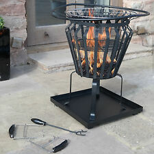 VICTORIA FIRE PIT BASKET METAL OUTDOOR PATIO LOG BURNER BRAZIER WOOD BBQ HEATER