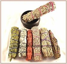 BLACK BURNER and 7 Sage Smudge Stick SAMPLER Blue, Red, White, Desert Dragons