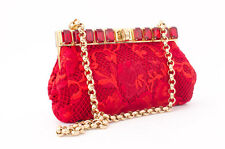 DOLCE & GABBANA NEW Ricamo Pochette Red Lace Rhinestone Evening Bag Clutch Purse