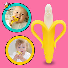 New Silicone Banana Bendable Baby infant Teether Training Toothbrush Toddler NOU