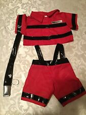 Build A Bear - Firefighter suit - red and black pants set - Includes water hose