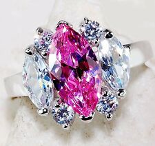 2CT Pink Sapphire & White Topaz 925 Solid Sterling Silver Ring Sz 6, T3-13