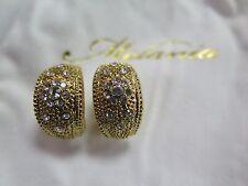 MELANIA TRUMP Textured Crystal Huggie Hoop Earrings in Goldtone