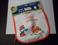 1980's The Smurfs - Papa Smurf - Tommee Tippee Plastic & Terry Bib - On Card/New