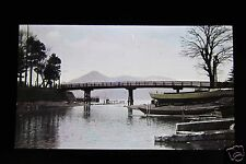 GLASS MAGIC LANTERN SLIDE UNTITLED BRIDGE WITH BOATS C1920 JAPANESE JAPAN