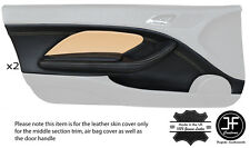 TAN STITCH 2X FRONT DOOR CARD TRIM LTHR COVERS FITS BMW E46 CONVERTIBLE COUPE