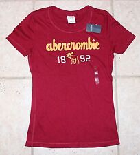 NWT Abercrombie Girls XL Maroon SS Logo T-Shirt - LAST ONE!