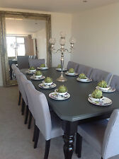 8-10 seater Large Dining table +8chairs, gloss black&grey top, any paint colour