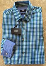 Hugo Boss Ronny Button Down Shirt Mens XXL Slim Blue &Green Multi Plaid NWT $165