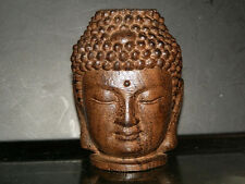 OLD SANDAL WOOD COLLECTABLE HANDWORK CARVED   Buddha head ORNAMENT STATUE